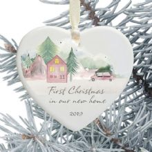 1st Christmas in Our New Home Keepsake Ceramic Heart Xmas Tree Decoration - Mountainside Home Design